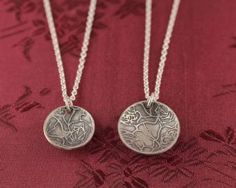 Botanical Rose Etched Flower Small or Large Cupped Bowl Disc Pendant