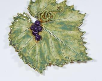 Pottery Leaf - Ceramic Leaf - Grape Leaf Plate - Green Tray