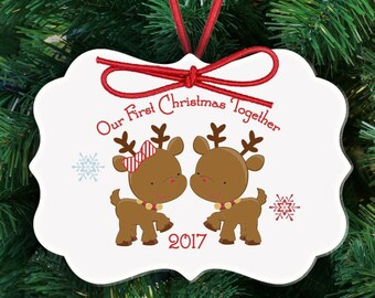 First Christmas together reindeer ornament - adorable couples 1st Christmas custom holiday ornament FCTRO
