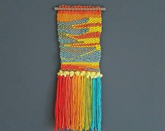 Contemporary weaving, rainbow colors
