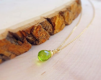 Dainty Peridot necklace, delicate gemstone necklace, lime green, minimal jewelry, august birthstone, Leo, wire wrapped stone, artisan otis b