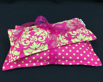 Corn Heating Pad, Corn Bag Set, Microwave Heating Pad, Ice Pack, Heat Therapy, Spa Relaxation Gift, Sinus Pain, Pink Polka Dot Damask