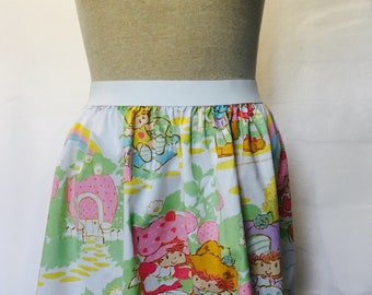"""Strawberry Shortcake Ladies Skirt from vintage upcycled fabric - 40"""" - 48"""""""