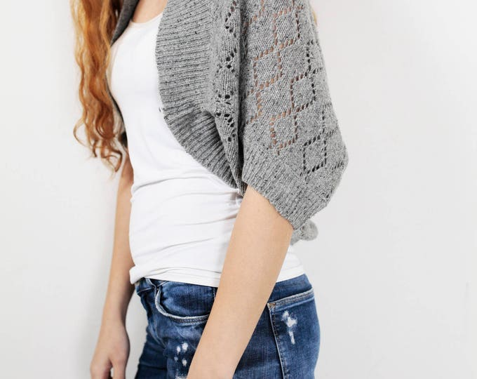 Knit woman sweater Little cardigan sweater little shrug grey sweater