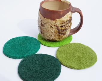 4 felted wool coasters: greens