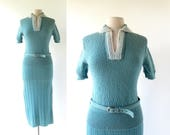 1950s Knit Dress | Two Piece Set | 50s Dress | S M