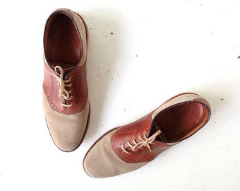 Men's Saddle Shoes | LL Bean | Suede and Leather Oxfords | Size 12