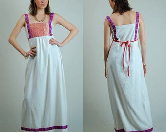 India Linen Dress Vintage 70s White India Linen Woven Ethnic Draped Summer Maxi Dress (s)