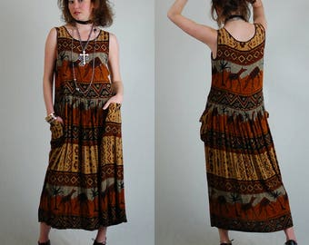 African Summer Dress Vintage 90s Black + Brown Africana Geo Tribal Draped Grunge Maxi Dress (s m)
