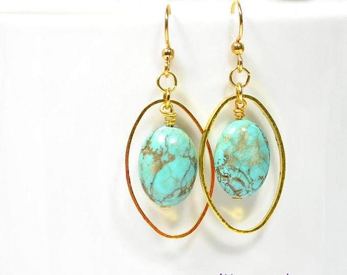 Earrings Dangle Blue Gold Earring Gemstone Earrings Turquoise Blue Earrings Handmade Jewelry Lever Back or Gold Filled