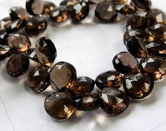 SALE Smokey Quartz Gemstone Bead, Semi Precious Gemstone. Natural Gemstone Heart Briolette 9.5 mm. Pair or NonMatch 1 to 9 Briolettes (53qz