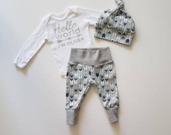 Personalized Baby Boy Coming Home Outfit. Personalized Newborn Boy Coming Home Outfit. Boy Coming Home Outfit. Arrowhead