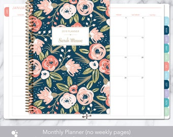 MONTHLY PLANNER | 2018 2019 no weekly view | choose your start month | 12 month calendar monthly tabs personalized | pink navy gold floral