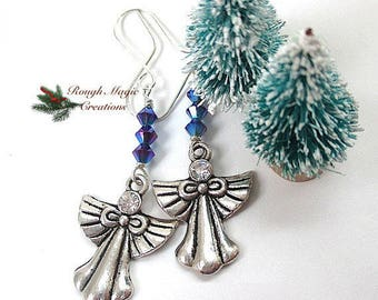 Blue Christmas Earrings, Silver Angel Dangles, Holiday Jewelry, Sapphire Swarovski Crystal, Sterling Earwires, Gift for Woman or Girl E447