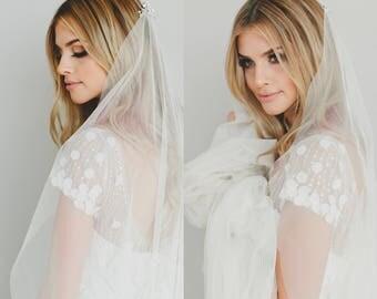 Wedding Veil, Soft Drape Veil, English Net Fabric, Crystal Comb, Beaded Veil, Single Tier Veil, Bridal Veil, Champagne Veil, 1518