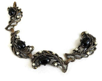 Chunky Black Lucite Cabochon Filigree Bracelet with Faux Pearls Vintage