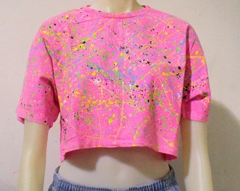 One of a Kind BLIM! Splatter Neon Crop Top