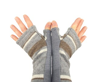 Men's Fingerless Mitts in Striped Grey and Taupe Merino - Recycled Felted Wool