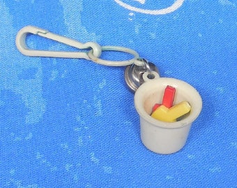 1980s Bell Charm - Bucket w/ Shovels - Jewelry Charm - Necklace - Clip Keychain - Zipper Pull - Kitschy 80s Fashion - Kawaii - Sand Pail