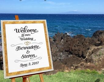 Wedding Welcome Sign, Printable Large Wedding Sign, Custom Wedding Sign, Welcome to our Wedding Gold Frame, Silver Frame Print, DIGITAL FILE