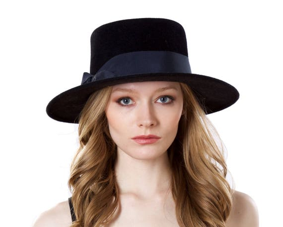 Gaucho Hat Spanish Hat Fall Fashion Winter Accessories Boater Hat Black Hat Wide Brim Porkpie Hat Fall Accessories Fall Felt Hat Bolero Hat