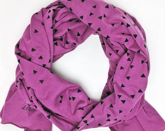 Orchid- Triangle Screen Printed Scarf  (Cotton Jersey)  - Extra Long