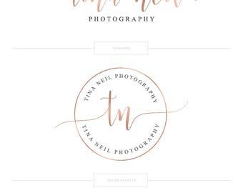 Rose Gold Logo Photography Logo Photography Watermark Circle Logo Lash Logo Premade Logo Branding Package Realtor Logo Makeup Artist Logo