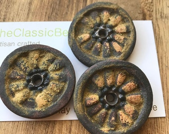 Single Hole Wheels with Rusty Glaze,Handcrafted Ceramic, pendant ,The Classic Bead, zinnia Pendant, gift for gardener