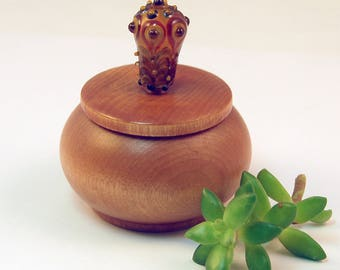 Tiny Wood Trinket Box with Amber Lampwork Glass Victorian Bauble Knob/Finial