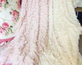 Romantic Ruffled Fabric Throw