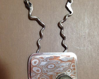 Mokume Gane handmade-one of a kind-Silver Copper Necklace pyrite cabochon pendant
