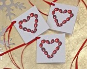 Gift Tags - Cranberry heart tag - Christmas Gift Tags - cranberry print - tags for wrapping - cranberry botanical illustration - place card