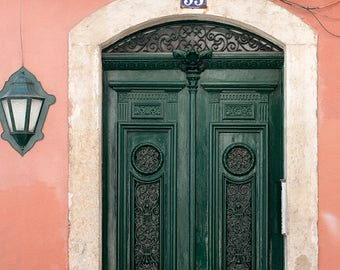 Door 53 - Hunter Green Door of Lisbon - Portugal photography, salmon pink, Door in Lisbon, green wall art, portugal architecture