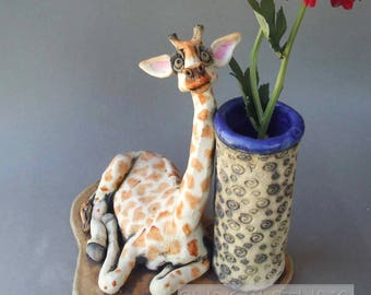 Giraffe Figurine and Ceramic Vase Sculpture