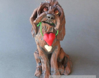 Chocolate Labradoodle or Goldendoodle with Heart Ceramic Dog Sculpture