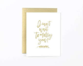 Can't wait to marry you card, fiance card, wedding day card, marriage card, groom wedding card, bride wedding card, wedding stationery