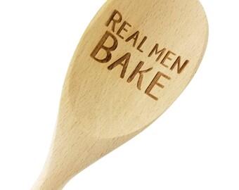 Engraved Real Men Bake Wood Spoon Gift - 14 inch- host gift, birthday gift, engraved spoon, stocking stuffer - 901017