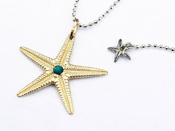 Large Yellow Gold Starfish Charm with Genuine Turquoise Center-Ready to ship.