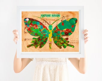Nursery Art Boho, Green Butterfly, Gender Neutral Nursery, Printable Wall Art, Girls Nursery Art, Boys Nursery Art