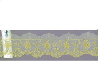 2 inch ivory and Gold lace trim embroidery 13yds (3663)