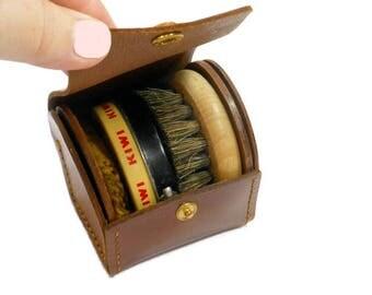 Vintage Shoe Polish Kit, KIWI Metal Tin, Mini Shoe Shine Boar Brush, Rise N Shine, Made in England, Compact Kit, Wood Leather, Travel Size
