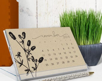 2018 desk calendar - 2018 calendar - cd calendar - black ink on kraft - botanical art illustrations - free shipping to U.S.