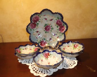 Vintage China Dessert Bowl 6 piece Set Scalloped Edge Painted Flowers