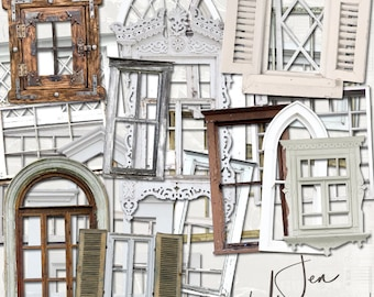 Old Window Frames digital scrapbooking graphics kit / clipart / altered art / mixed media collage / instant download / printable