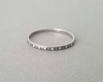 Polka Dot Ring Band Oxidized Sterling Silver Ring Stacking Rings Patterned Ring thin textured silver stacking rings