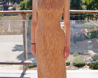 Lace Dress, 60s dress, Boatneck, Sleeveless, Champagne Rust, size S
