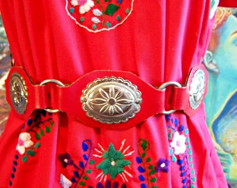 Concho belt,  RED, Western, Christmas, Vegan, Red Belt, Silver Concho, Faux Leather, size S/M