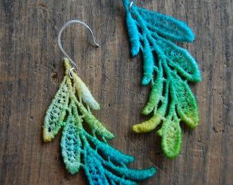 Blue, Green, Yellow Ombre Dip Dye Leaf Venice Lace Earrings Feminine Statment Earrings  Delicate Embroidery Venise Lace  Tie Dye Lace Dangle