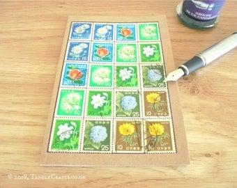 Japan Flower Stamps Notebook | Upcycled Vintage Stamp Journal