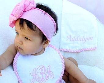 Baby Girl Monogrammed Linen and Gingham Bib and Burp Cloth Baby Gift Set, Linen Bib & Burp Cloth, Newborn Girl Gift, Shower Gift LDM